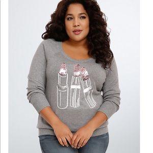 Lipstick sequin sweater